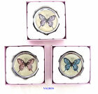 LADIES ELEGANT PILL BOX WITH ENAMELLED LID FEATURING BUTTERFLIES IN A GIFT BOX