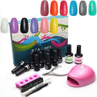12 Colors Nail Art Soak Off Gel Polish Set Glitter Decoration Tips LED Lamp Tool