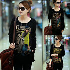 New Fleece Fashion Pattern Tops Blouse Loose Casual Long Sleeve Black Tee Shirts