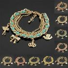 New Fashion Assorted Colors Leather Gold Plated Lovely Princess Charm Bracelet
