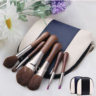 Makeup Brush Set Leather Animal Hair Foundation Blush Eyeshadow Lip Brushes Kit