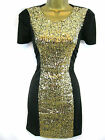 Madam Rage Sz 8-16 Gold Sequin Panel Dress Sparkly Party Dress Flattering