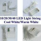 10/20/30/40 LED Light BATTERY String Cool/Warm White Fairy Party Christmas
