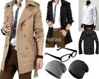 British type Men's Slim Fit Long Winter Warm Double Breasted Peacoat Coat Jacket