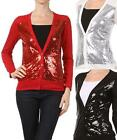 WOMEN SEQUIN CARDIGAN Long Sleeve Soft Button Front Sparkle V Neck Party S M L