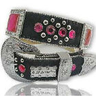 BHW LEATHER BLACK PINK WESTERN RHINESTONE COWGIRL BELT MEDIUM LARGE XL 3744