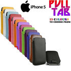 Pull Tab PU Leather Pouch Cover Case Sleeve For iPhone 5G 5S