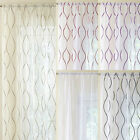 SINGLE MADISON CONTEMPORARY EMBROIDERED VOILE NET CURTAIN PANELS