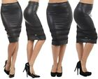 NEW WOMEN BLACK FAUX LEATHER PENCIL SKIRT Sheer Panels Sexy Below Knee Long Sexy