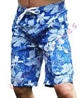 MENS BLUE WHITE FLORAL CARGO BOARD SWIM SURF HOLIDAY SHORTS XS S M L XL XXL