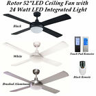 52 inch Fias Rotor LED Ceiling fan with Integrated 24w LED Light in Cool White