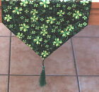 Shamrock, Lucky Clover St Patrick's Day Table Runner Green, Black, Gold UK Made