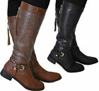 Womens Ladies Knee High Leather Style Low Heel Biker Riding Buckle Boots