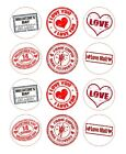 Valentines Cupcake Toppers - Vintage Postmark - choice of Icing or Wafer Paper