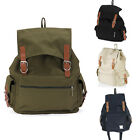Men Vintage Canvas Leather Hiking Travel Backpack Boys Daypacks Schoolbag Army