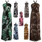 Animal Leopard Pattern Print Ring Halterneck Summer Casual Maxi Day Dress 12-20