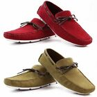 ZASEL MENS RED CAMEL SUEDE LEATHER CASUAL DRESS BOAT DECK LOAFERS DRIVING  SHOES