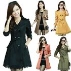Autumn Spring Women Slim Belted Trench Coat Windbreaker Double Breasted Lace Hem