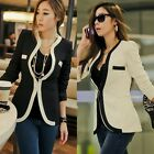 Women New Chic Long Sleeve OL Color Blocking Blazer Suits Outwear Tops Pockets