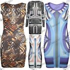 Ladies Cut Out Tiger Womens Multi Stripes Sleeveless Stretchy Bodycon Dress Top