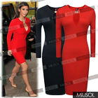 Womens Ladies Long Sleeve Pencil Style Bodycon Wedding Party Dresses Size 681024
