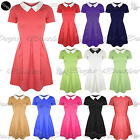 New Womens Ladies Collared Short Sleeves Flared Franki Party Skater Dress Top