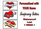 PERSONALISED CUSTOM HEART temporary  TATTOOS waterproof  LAST1 WEEK+  tattoo