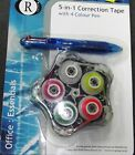 New 5 in 1 Correction Tape & 4 Colour Pen for Home/Office Stationary Essentials