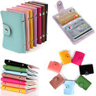 Candy Color Women's PU Leather Business ID Credit Card Holder Handbag Purse Case