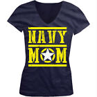 Navy Mom - Star Distressed USA Armed Forces Troops Girls Junior V-Neck T-Shirt