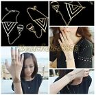 1 Vtg Fashion Lady Triple Triangle Metal Alloy Chain Bracelet Adjust Ring Bangle