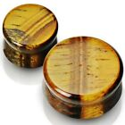 1 Pair Genuine Organic Tigers Eye Stone Saddle Ear Plugs/3mm-25mm/Gauges(pst05)