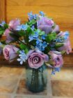 Blue Ball Glass Canning Jar Violet Sweetheart Rose Blue Waxflower Petite Bouquet
