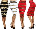 STRAIGHT LENGTH METALLIC PENCIL SKIRT Stretch Cotton Pattern S M L  1X 2X 3X
