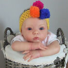 STRETCH CROCHET HEADBAND, MULTI COLOUR POM POMS, CHILD / BABY, FREE P/P