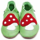 Inch Blue Boys Girls Baby Luxury Leather Soft Sole Pram Shoes - Toadstool Green