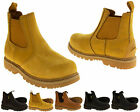 Mens Leather Grippy Solid Safety Site Garage Industrial Work Boots Shoes Sizes