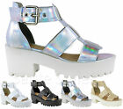 Ladies Women Gladiator Chunky Cleated Sole Strappy Sandals Platform Shoes Size