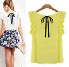 Summer Womens Ladies Sleeveless O-Neck Blouse Casual Chiffon Tank Tops T-Shirt