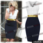 Ladies Women's Sleeveless V-neck High Waist Bodycon Mini Dresses Tops Size 68102