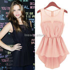 Sexy Womens Chiffon Summer Sleeveless Peplum Frill Blouse Shirt Vest Casual Tops