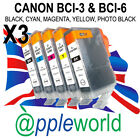 3 SETS [15 inks] Canon Ink Cartridges compatible with BCI-3Bk + BCI-6Bk, C, M, Y