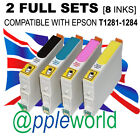 2 FULL SET of inks (8 carts) compatible with T1281-1285 [not EPSON original]