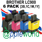 6 PACK of LC900 BROTHER Compatible Ink Cartridges (3 x Bk & 1 x C,M & Y)