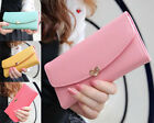Cute Classic Women's Button Faux Leather Clutch Wallet Purse Lady Long Handbag