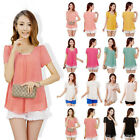 NEW Summer Solid Sexy Loose Short Sleeve T-shirt Fashion Tops Blouse Women S-XXL