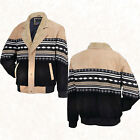 Mens Tan/Black Southwestern Western Suede Leather Jacket Coat Faux Sheepskin