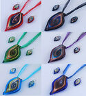 Newest Womens Twisted Leaf Lampwork Glass Pendant Necklace Earrings Sets