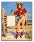 """1950s Elvgren PinUp Girl Poster """"Beat That"""" Cowgirl Target Shooting - 24x30"""
