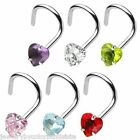 Nose - 316L Nose  Screws  with prong-set Crystal Heart
